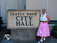 Fan with Castle Rock City Hall sign
